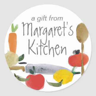 fruit vegetable utensils cooking baking gift tags round sticker