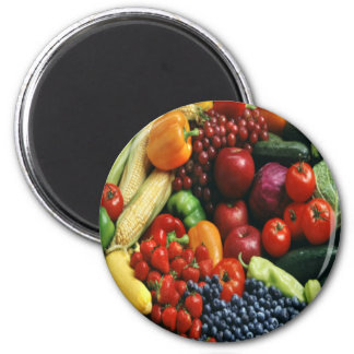 FRUIT & VEGETABLES 2 INCH ROUND MAGNET