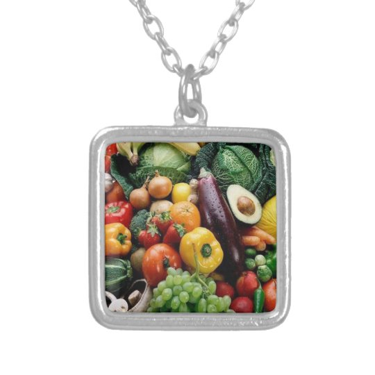 FRUIT  VEGETABLES SILVER PLATED NECKLACE