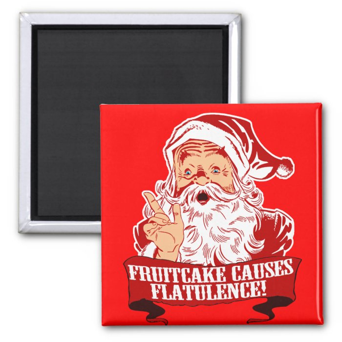 Fruitcake Causes Flatulence 2 Inch Square Magnet
