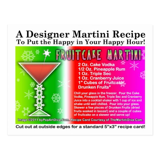 Fruitcake Christmas Martini Recipe Postcard