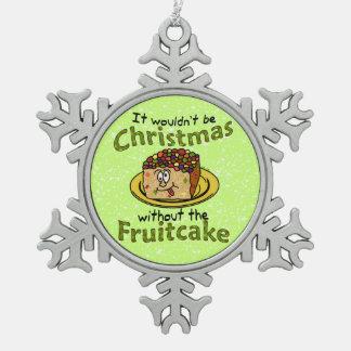 Fruitcake divertido del dibujo animado del navidad adorno de peltre en forma de copo de nieve