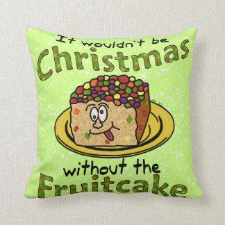 Fruitcake divertido del dibujo animado del navidad cojín decorativo