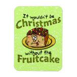 Fruitcake divertido del dibujo animado del navidad imán flexible