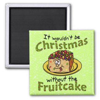Fruitcake divertido del dibujo animado del navidad imán cuadrado