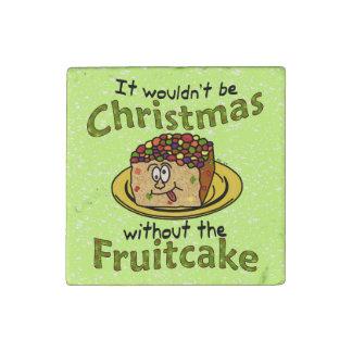 Fruitcake divertido del dibujo animado del navidad imán de piedra