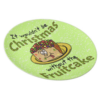 Fruitcake divertido del dibujo animado del navidad plato de comida