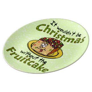 Fruitcake divertido del dibujo animado del navidad platos de cerámica