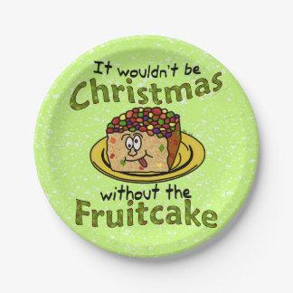 Fruitcake divertido del dibujo animado del navidad platos de papel