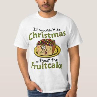 Fruitcake divertido del dibujo animado del navidad playera