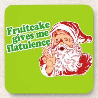 Fruitcake Gives Santa Flatulence Drink Coaster