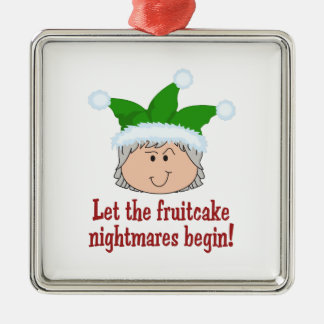 FRUITCAKE NIGHTMARES SQUARE METAL CHRISTMAS ORNAMENT