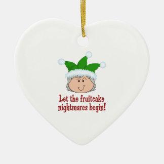 FRUITCAKE NIGHTMARES Double-Sided HEART CERAMIC CHRISTMAS ORNAMENT