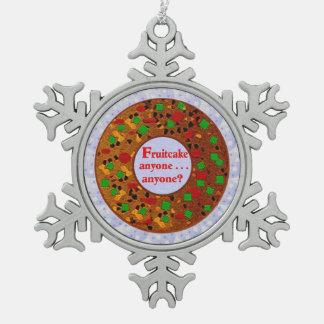 Fruitcake Snowflake Pewter Christmas Ornament