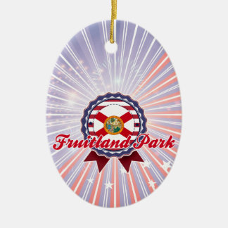 Fruitland Park, FL Double-Sided Oval Ceramic Christmas Ornament