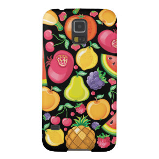 Fruits and Berries on Black Galaxy S5 Cover