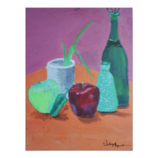 Fruits and Bottles Still life Painting Poster