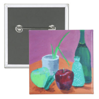 Fruits and Bottles Still Life Pinback Buttons