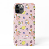 Fruits and Guinea pig pattern in peach pink iPhone 11 Pro Case