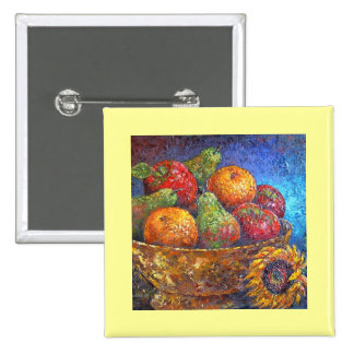 Fruits and Sunflower Painting Art - Multi Pinback Buttons