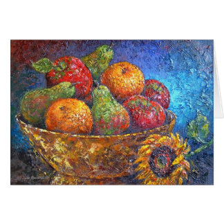 Fruits and Sunflower Painting Art - Multi Greeting Card