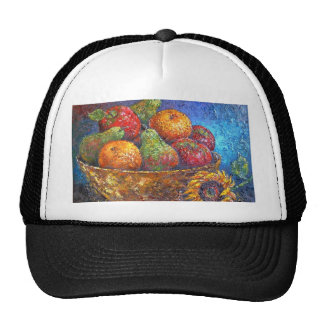 Fruits and Sunflower Painting Art - Multi Hat
