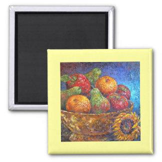 Fruits and Sunflower Painting Art - Multi Fridge Magnets