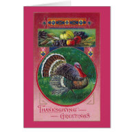 Fruits and Turkey Vintage Thanksgiving Greeting Cards