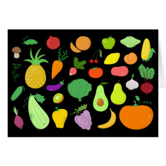 Fruits and Vegetables Blank Note Card