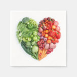 Fruits and Vegetables Heart Disposable Napkins