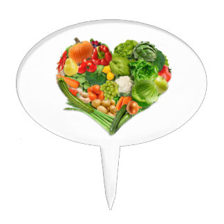 Fruits and Vegetables Heart - Vegan Cake Topper