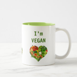Fruits and Vegetables Heart - Vegan Two-Tone Coffee Mug