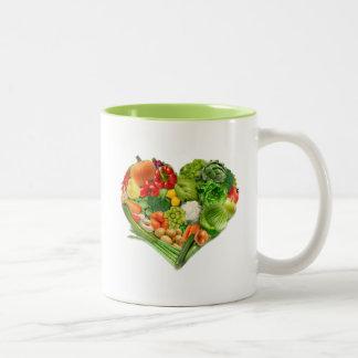 Fruits and Vegetables Heart - Vegan Two-Tone Coffee Mug