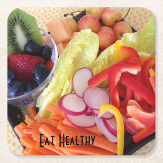 Fruits and Vegetables Square Paper Coaster