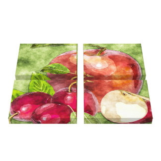 Fruits and Vegetables Watercolor Canvas Print