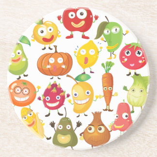 Fruits and vegetables with face beverage coaster