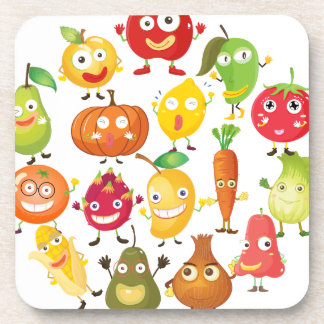 Fruits and vegetables with face beverage coasters