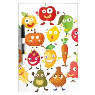 Fruits and vegetables with face dry erase whiteboards