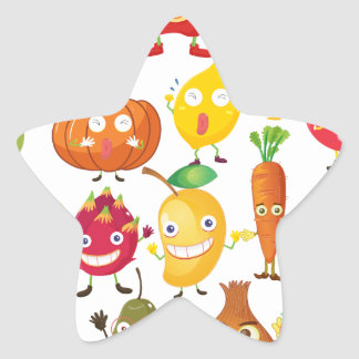 Fruits and vegetables with face star sticker