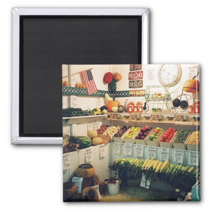 Fruits and Veggies 2 Inch Square Magnet