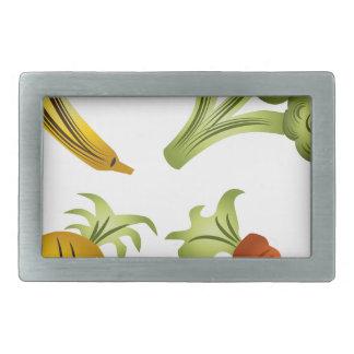 Fruits and Veggies Cartoon Drawing Belt Buckle