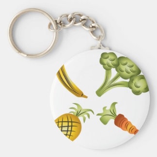 Fruits and Veggies Cartoon Drawing Basic Round Button Keychain