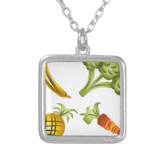 Fruits and Veggies Cartoon Drawing Square Pendant Necklace