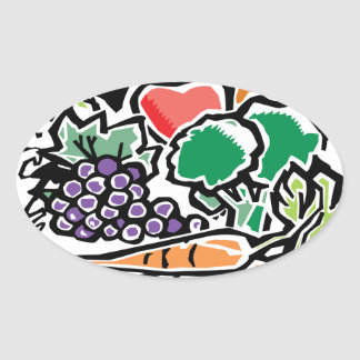 Fruits and Veggies Oval Sticker