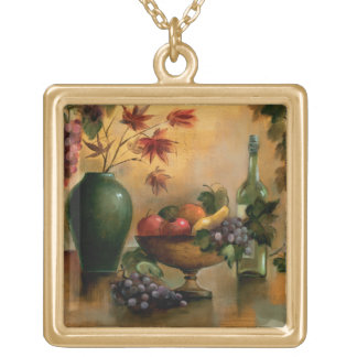 Fruits and Wine with Autumn Hues Gold Plated Necklace