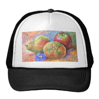Fruits Apple Pear Mandarin Painting Art - Multi Mesh Hats