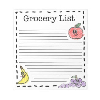 Fruits Grocery List Memo Notepads