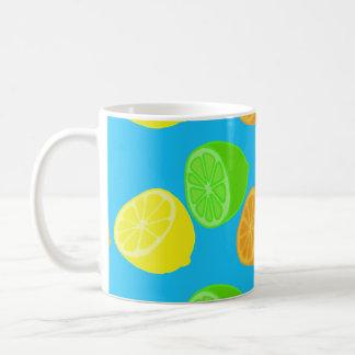 Fruits lime green  lemon yellow orange citrus fun coffee mug