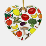 Fruits & Vegetables ornament, customize Double-Sided Heart Ceramic Christmas Ornament