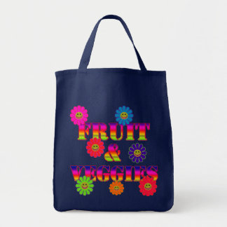FRUITS & VEGGIES Eco-Friendly Re-Usable Grocery To Grocery Tote Bag